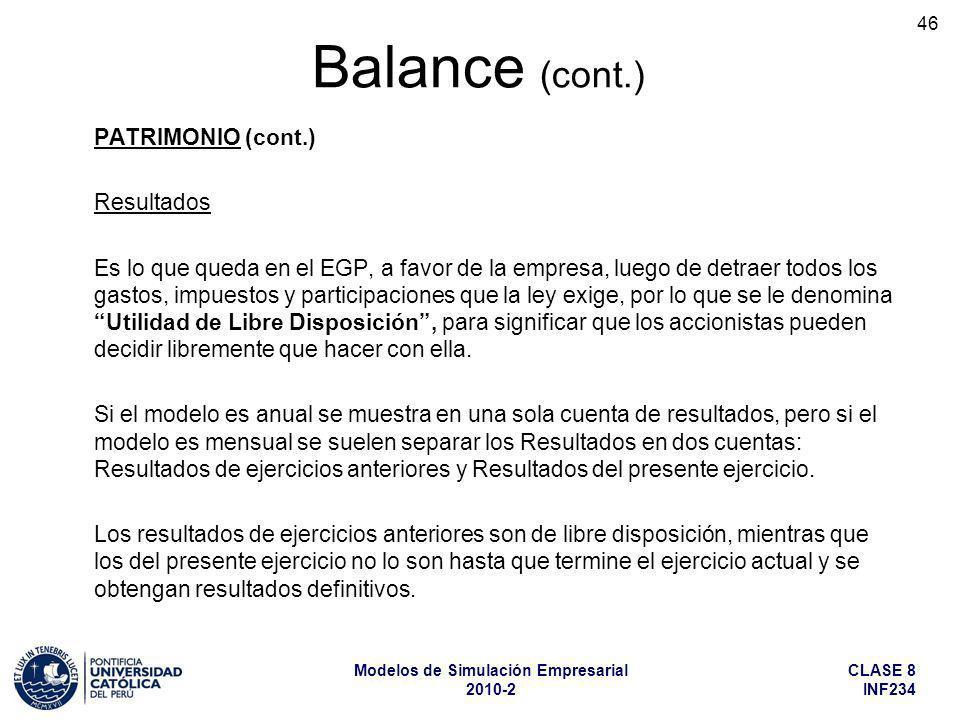 CLASE 8 INF234 Modelos de Simulación Empresarial 2010-2 46 PATRIMONIO (cont.) Resultados Es lo que queda en el EGP, a favor de la empresa, luego de de