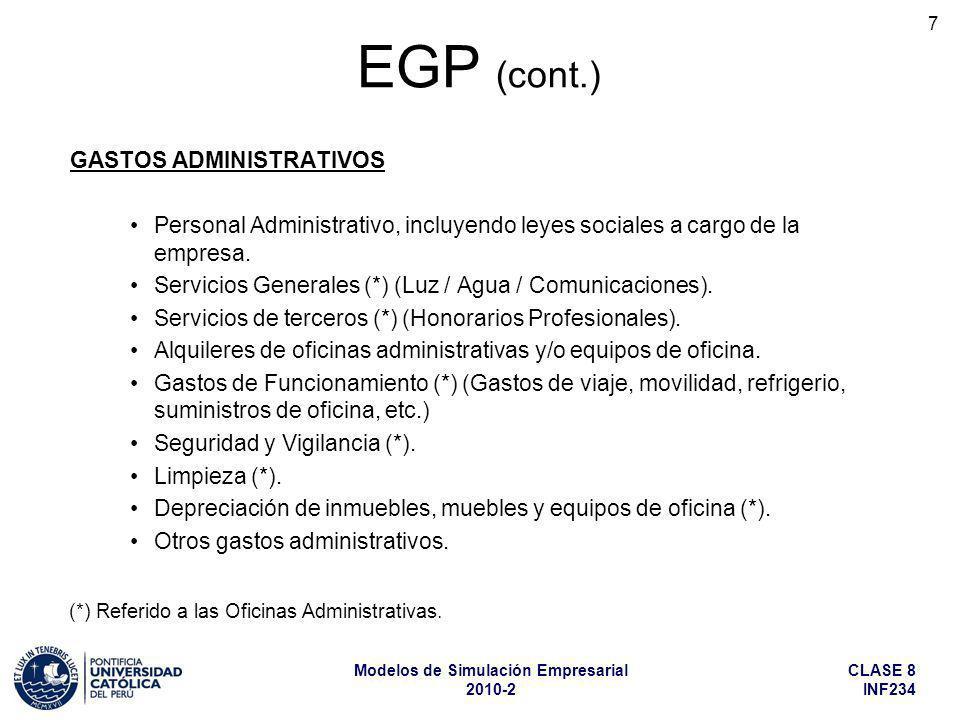 CLASE 8 INF234 Modelos de Simulación Empresarial 2010-2 7 GASTOS ADMINISTRATIVOS Personal Administrativo, incluyendo leyes sociales a cargo de la empr