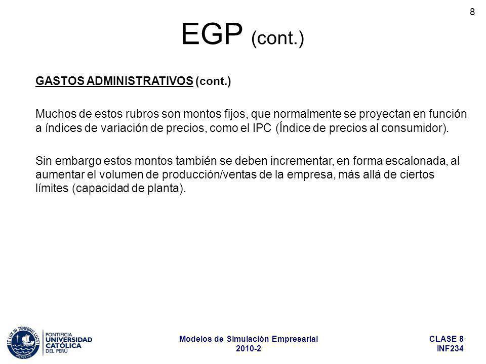 CLASE 8 INF234 Modelos de Simulación Empresarial 2010-2 29 ACTIVO NO CORRIENTE (cont.) Intangibles.
