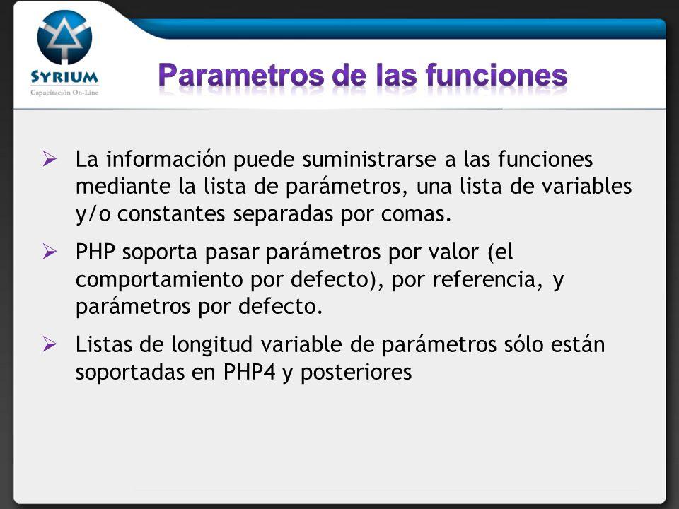 La información puede suministrarse a las funciones mediante la lista de parámetros, una lista de variables y/o constantes separadas por comas. PHP sop