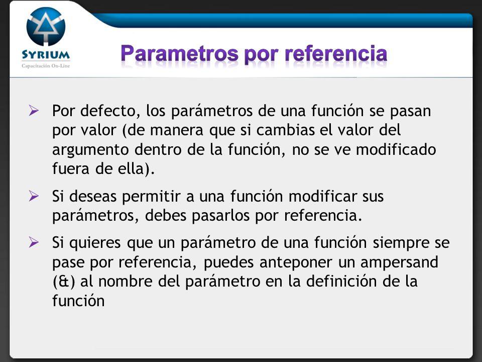 Por defecto, los parámetros de una función se pasan por valor (de manera que si cambias el valor del argumento dentro de la función, no se ve modifica