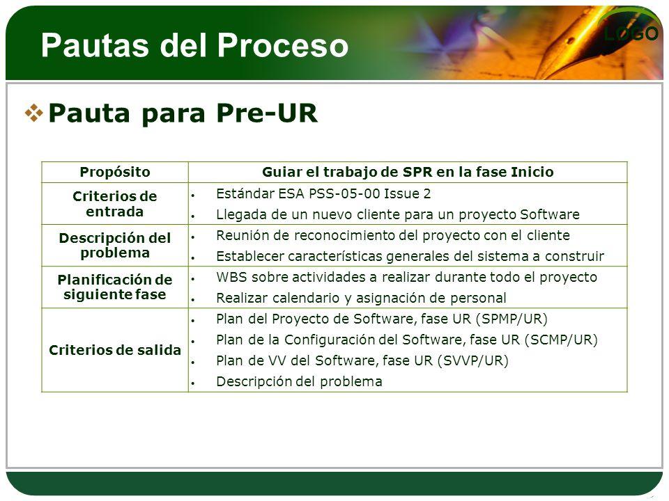 LOGO Pautas del Proceso Pauta para Pre-UR PropósitoGuiar el trabajo de SPR en la fase Inicio Criterios de entrada Estándar ESA PSS-05-00 Issue 2 Llega