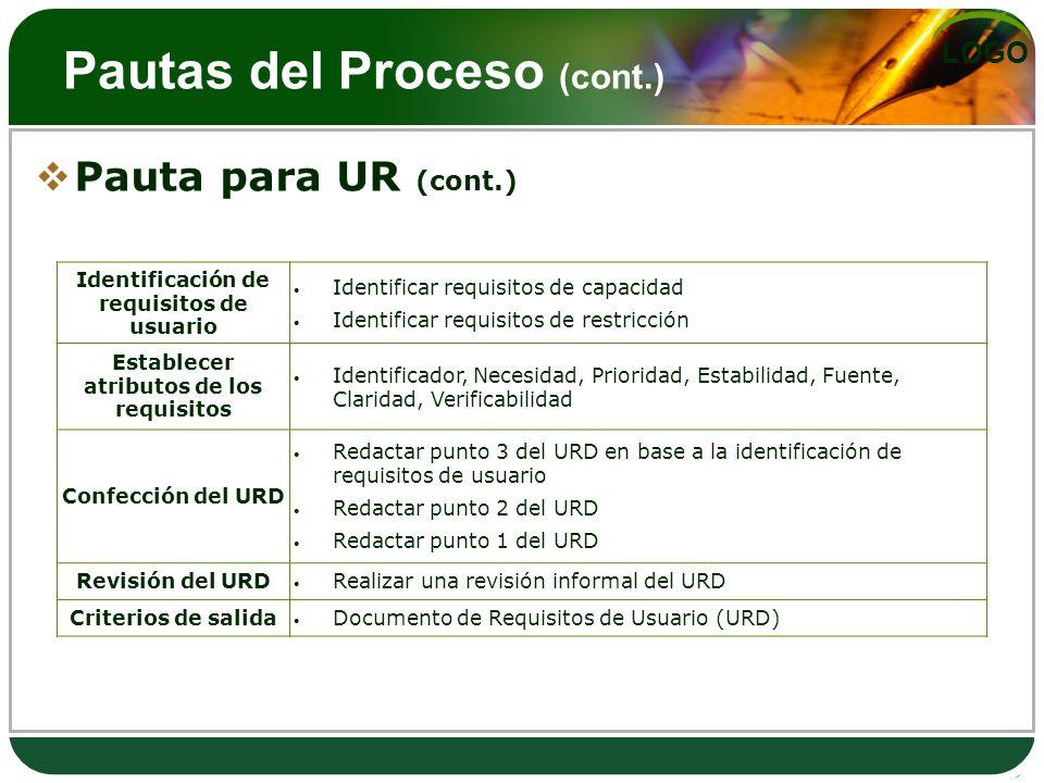LOGO Pautas del Proceso (cont.) Pauta para UR (cont.) Identificación de requisitos de usuario Identificar requisitos de capacidad Identificar requisit