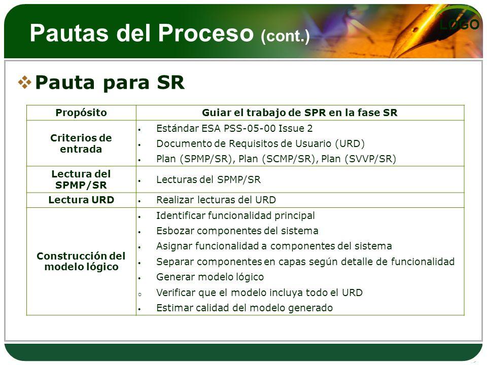 LOGO Pautas del Proceso (cont.) Pauta para SR PropósitoGuiar el trabajo de SPR en la fase SR Criterios de entrada Estándar ESA PSS-05-00 Issue 2 Docum