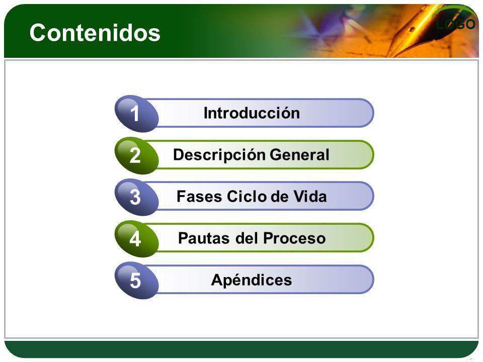 LOGO Contenidos Introducción 1 Descripción General 2 Fases Ciclo de Vida 3 Pautas del Proceso 4 Apéndices 5