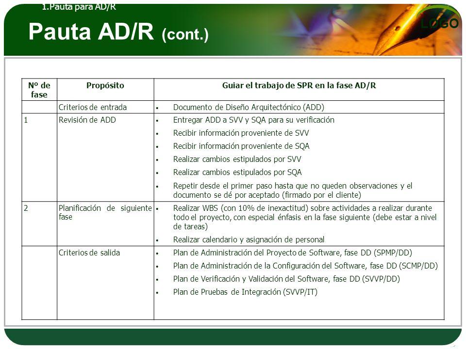 LOGO Pauta AD/R (cont.) Nº de fase PropósitoGuiar el trabajo de SPR en la fase AD/R Criterios de entrada Documento de Diseño Arquitectónico (ADD) 1Rev