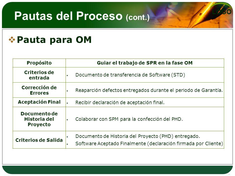 LOGO Pautas del Proceso (cont.) Pauta para OM PropósitoGuiar el trabajo de SPR en la fase OM Criterios de entrada Documento de transferencia de Softwa