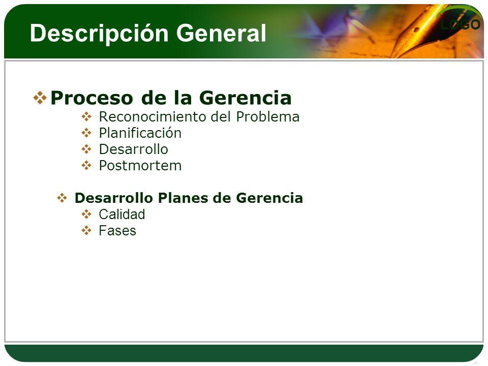 LOGO Descripción General Proceso de la Gerencia Reconocimiento del Problema Planificación Desarrollo Postmortem Desarrollo Planes de Gerencia Calidad