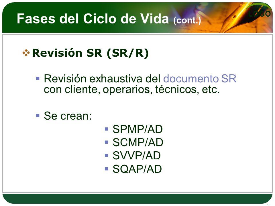 LOGO Fases del Ciclo de Vida (cont.) Revisión SR (SR/R) Revisión exhaustiva del documento SR con cliente, operarios, técnicos, etc. Se crean: SPMP/AD