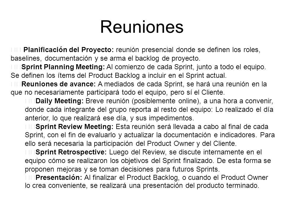 Reuniones Planificación del Proyecto: reunión presencial donde se definen los roles, baselines, documentación y se arma el backlog de proyecto.