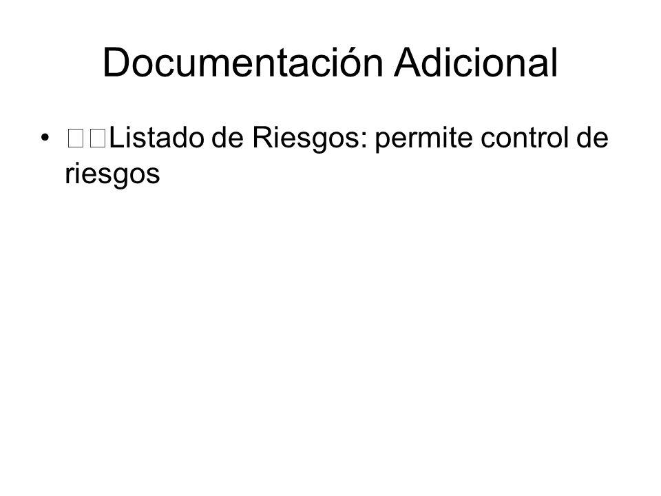 Documentación Adicional Listado de Riesgos: permite control de riesgos