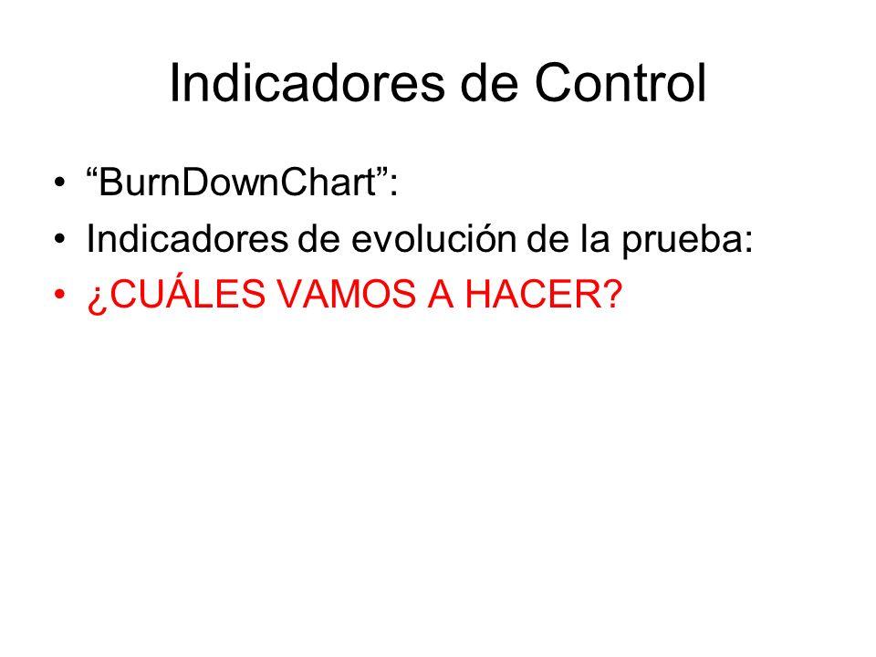 Indicadores de Control BurnDownChart: Indicadores de evolución de la prueba: ¿CUÁLES VAMOS A HACER?