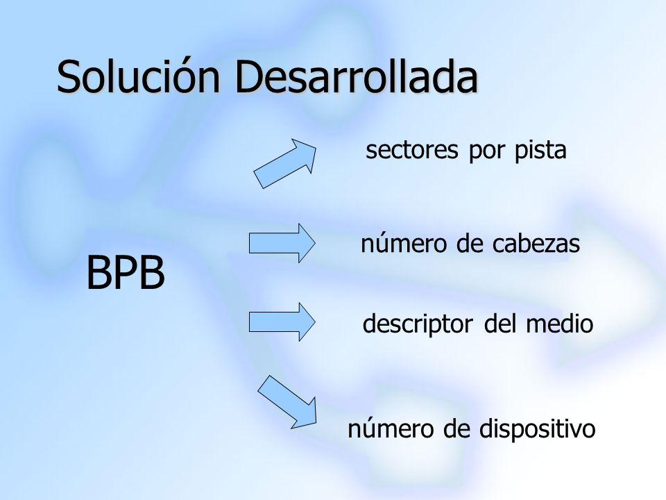 Solución Desarrollada BPB número de dispositivo sectores por pista número de cabezas descriptor del medio