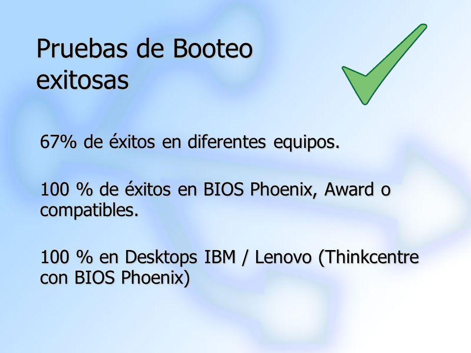 Pruebas de Booteo exitosas 67% de éxitos en diferentes equipos. 100 % de éxitos en BIOS Phoenix, Award o compatibles. 100 % en Desktops IBM / Lenovo (