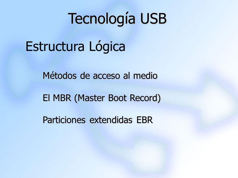 Estructura Lógica Tecnología USB Métodos de acceso al medio El MBR (Master Boot Record) Particiones extendidas EBR