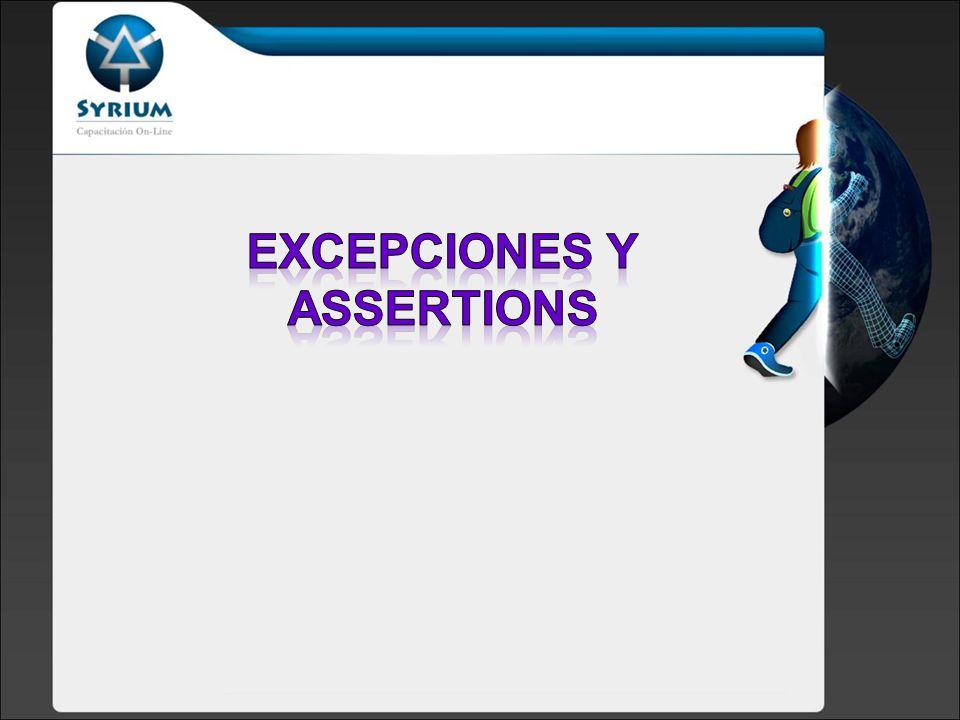 Exceptions y Assertions Introducción a la terminología Bloques: try, catch Uso de finally Bloques: try, catch, finally Categorías de Exceptions Excepciones comunes Mis excepciones Manejo de Excepciones