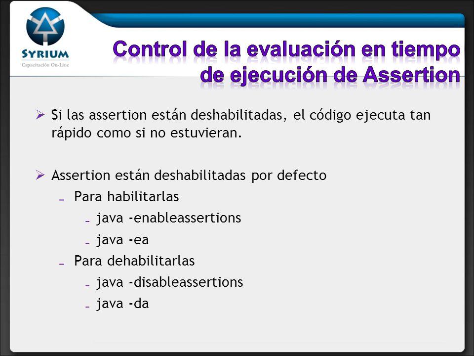 Si las assertion están deshabilitadas, el código ejecuta tan rápido como si no estuvieran.