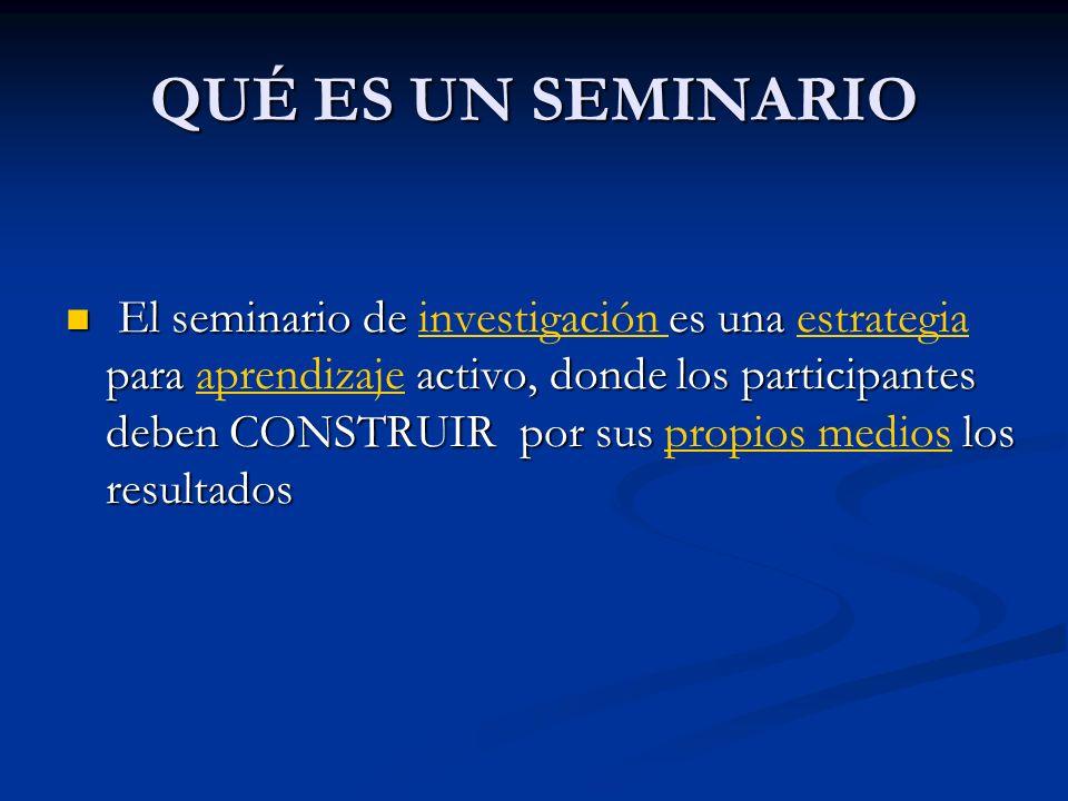 QUÉ ES UN SEMINARIO El seminario de es una para activo, donde los participantes deben CONSTRUIR por sus los resultados El seminario de investigación e