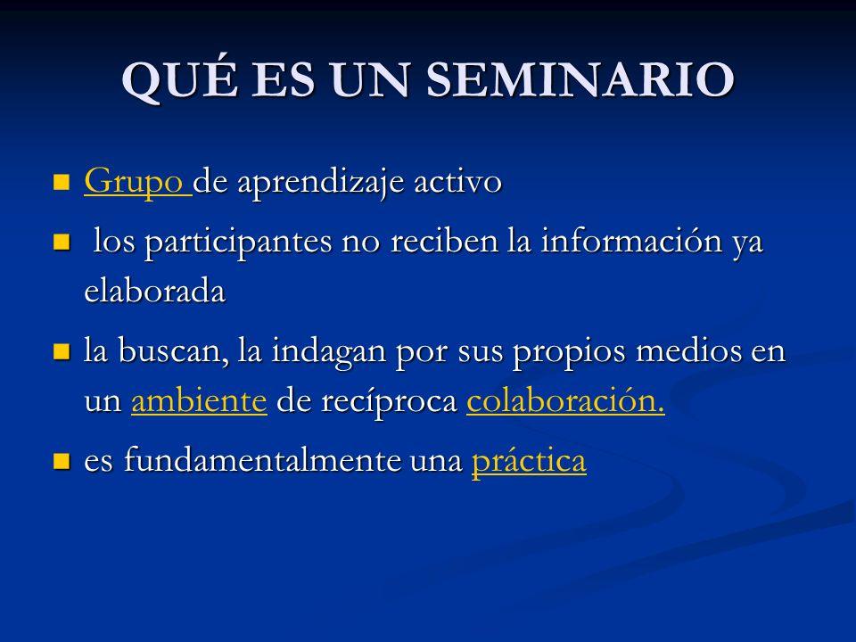 QUÉ ES UN SEMINARIO de aprendizaje activo Grupo de aprendizaje activorupo los participantes no reciben la información ya elaborada los participantes n