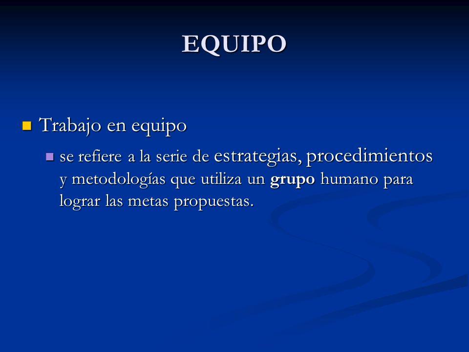 EQUIPO Trabajo en equipo Trabajo en equipo se refiere a la serie de estrategias, procedimientos y metodologías que utiliza un grupo humano para lograr