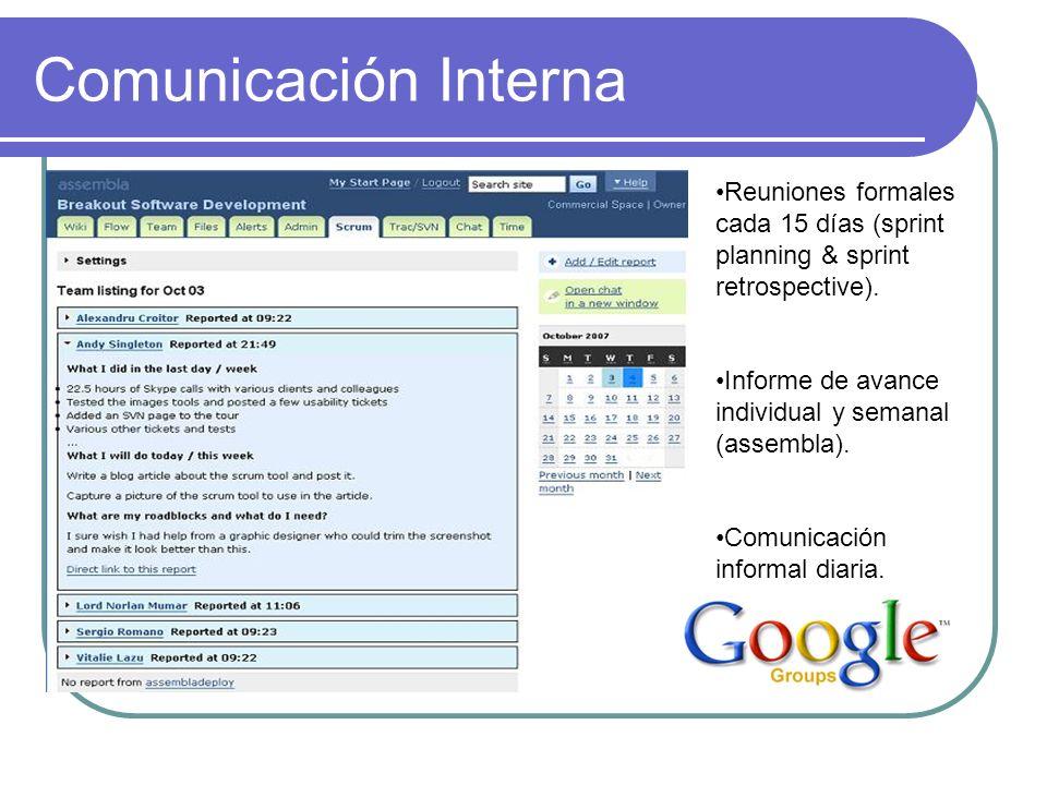 Comunicación Interna Reuniones formales cada 15 días (sprint planning & sprint retrospective). Informe de avance individual y semanal (assembla). Comu