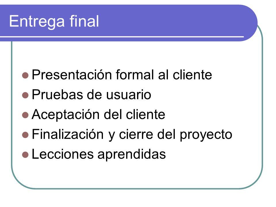 Entrega final Presentación formal al cliente Pruebas de usuario Aceptación del cliente Finalización y cierre del proyecto Lecciones aprendidas