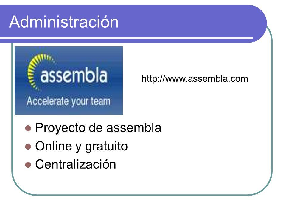 Administración Proyecto de assembla Online y gratuito Centralización http://www.assembla.com