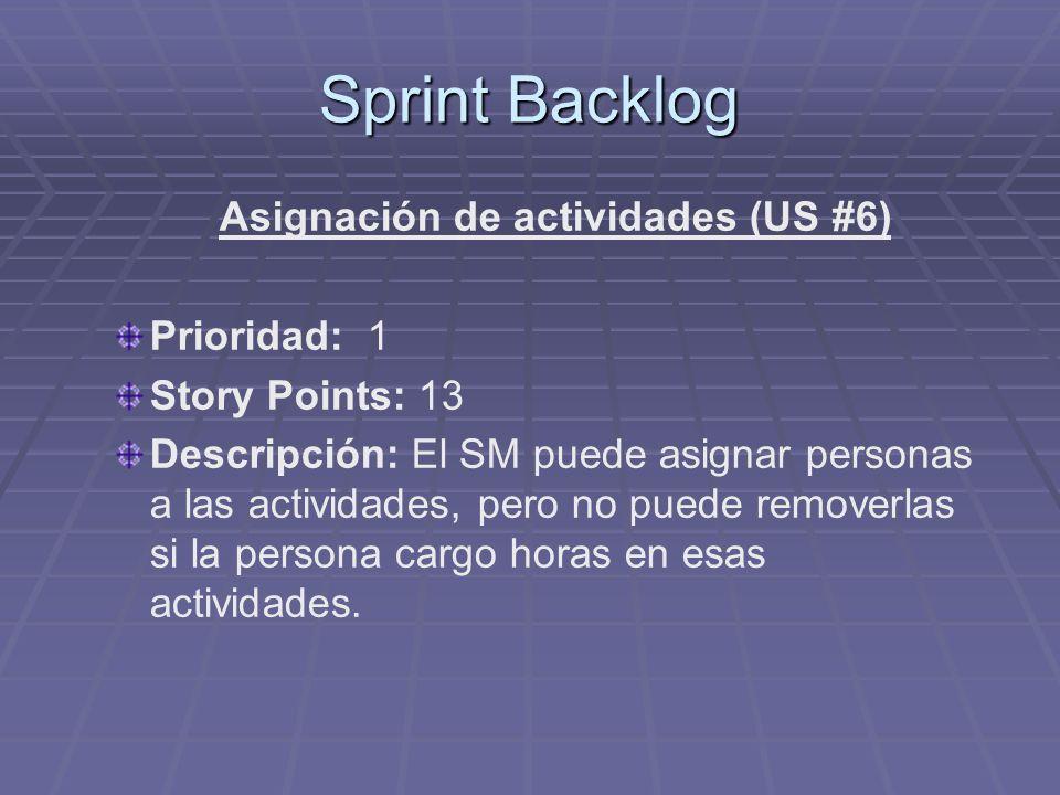 Sprint Backlog Asignación de actividades (US #6) Prioridad: 1 Story Points: 13 Descripción: El SM puede asignar personas a las actividades, pero no puede removerlas si la persona cargo horas en esas actividades.