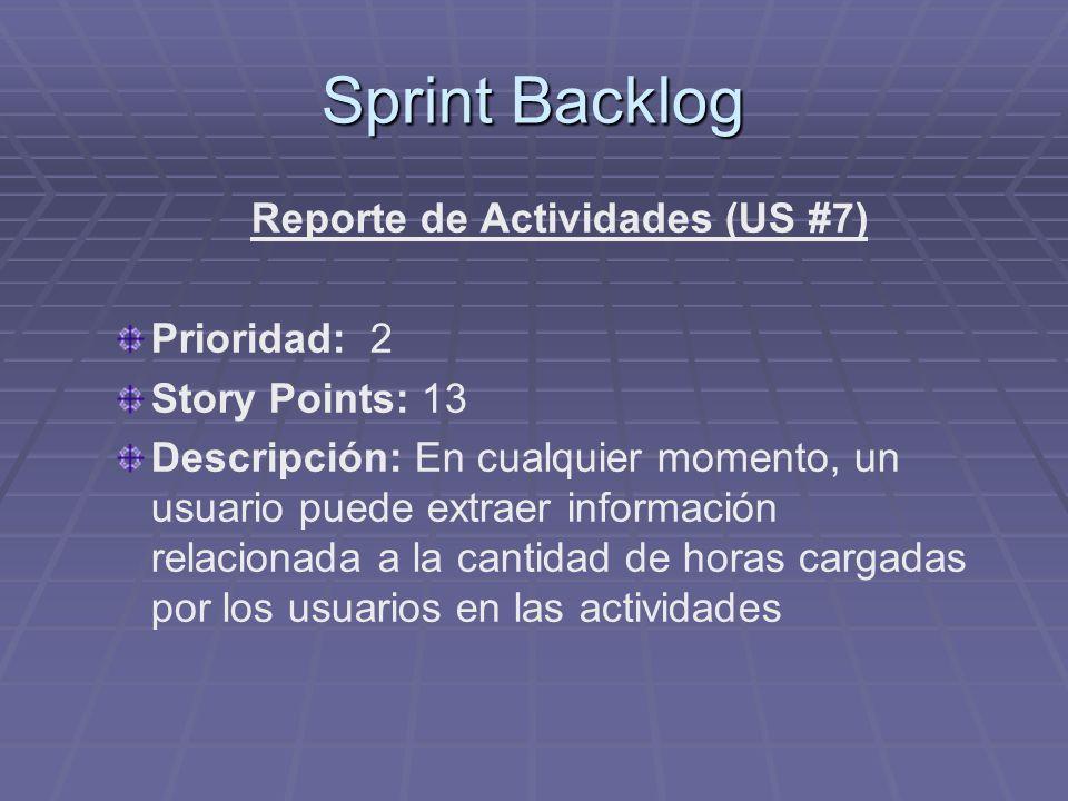 Sprint Backlog Reporte de Actividades (US #7) Prioridad: 2 Story Points: 13 Descripción: En cualquier momento, un usuario puede extraer información relacionada a la cantidad de horas cargadas por los usuarios en las actividades