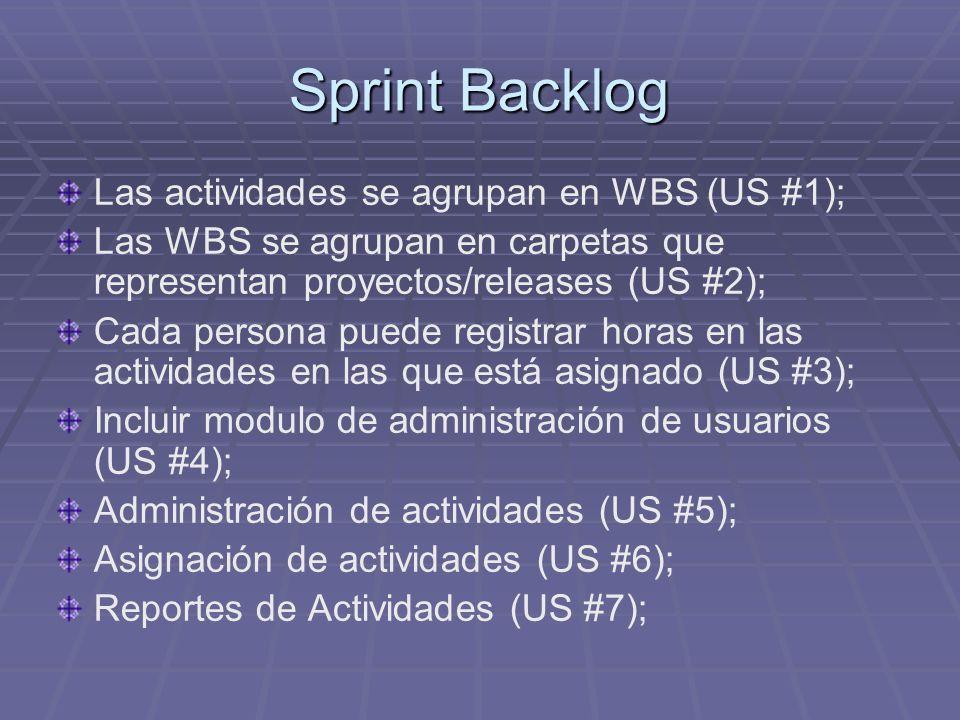 Sprint Backlog Las actividades se agrupan en WBS (US #1); Las WBS se agrupan en carpetas que representan proyectos/releases (US #2); Cada persona puede registrar horas en las actividades en las que está asignado (US #3); Incluir modulo de administración de usuarios (US #4); Administración de actividades (US #5); Asignación de actividades (US #6); Reportes de Actividades (US #7);