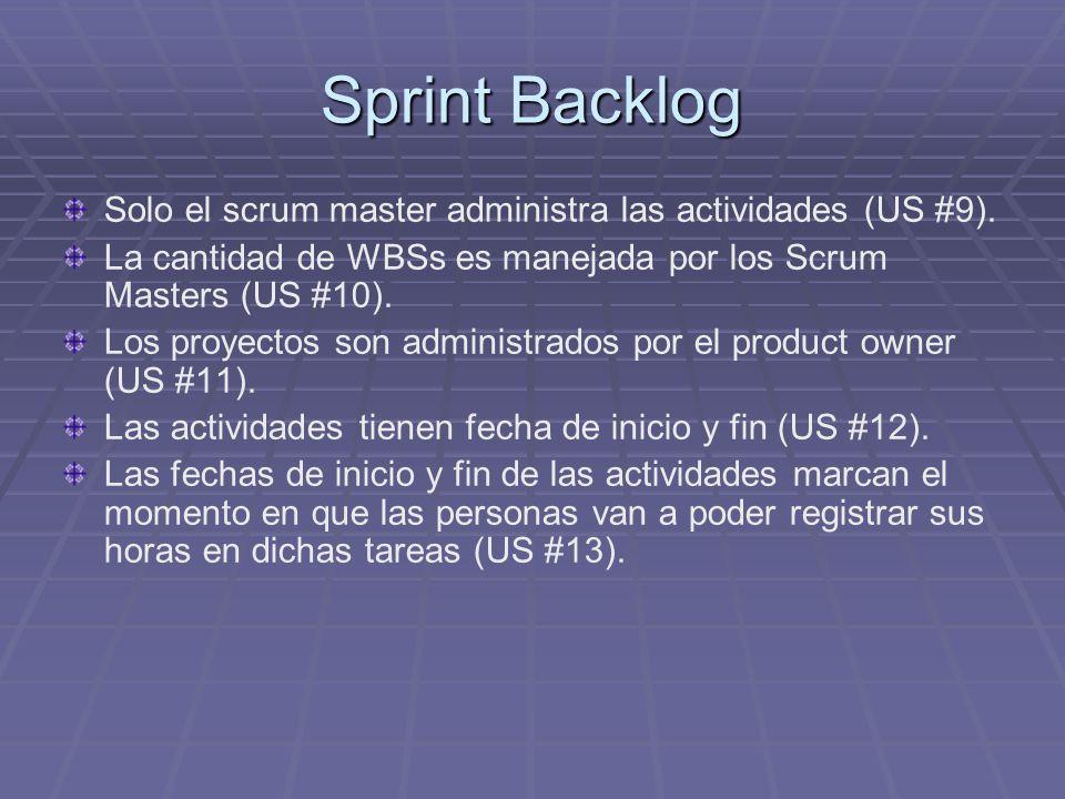 Sprint Backlog Solo el scrum master administra las actividades (US #9).