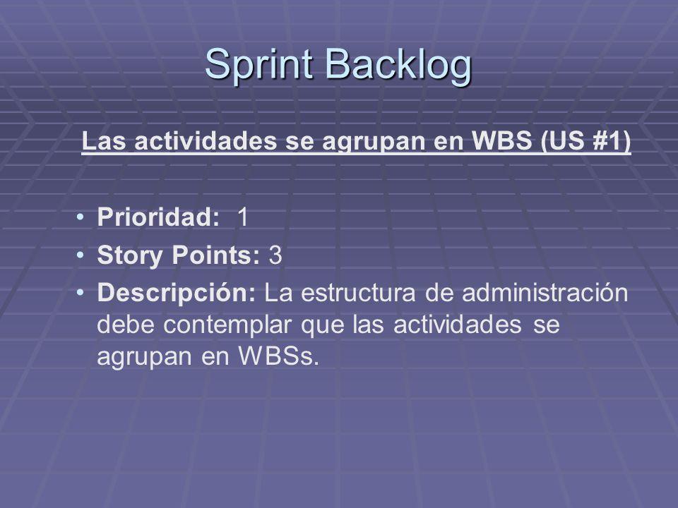 Sprint Backlog Las actividades se agrupan en WBS (US #1) Prioridad: 1 Story Points: 3 Descripción: La estructura de administración debe contemplar que las actividades se agrupan en WBSs.