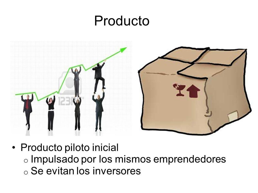 Producto piloto inicial o Impulsado por los mismos emprendedores o Se evitan los inversores Producto