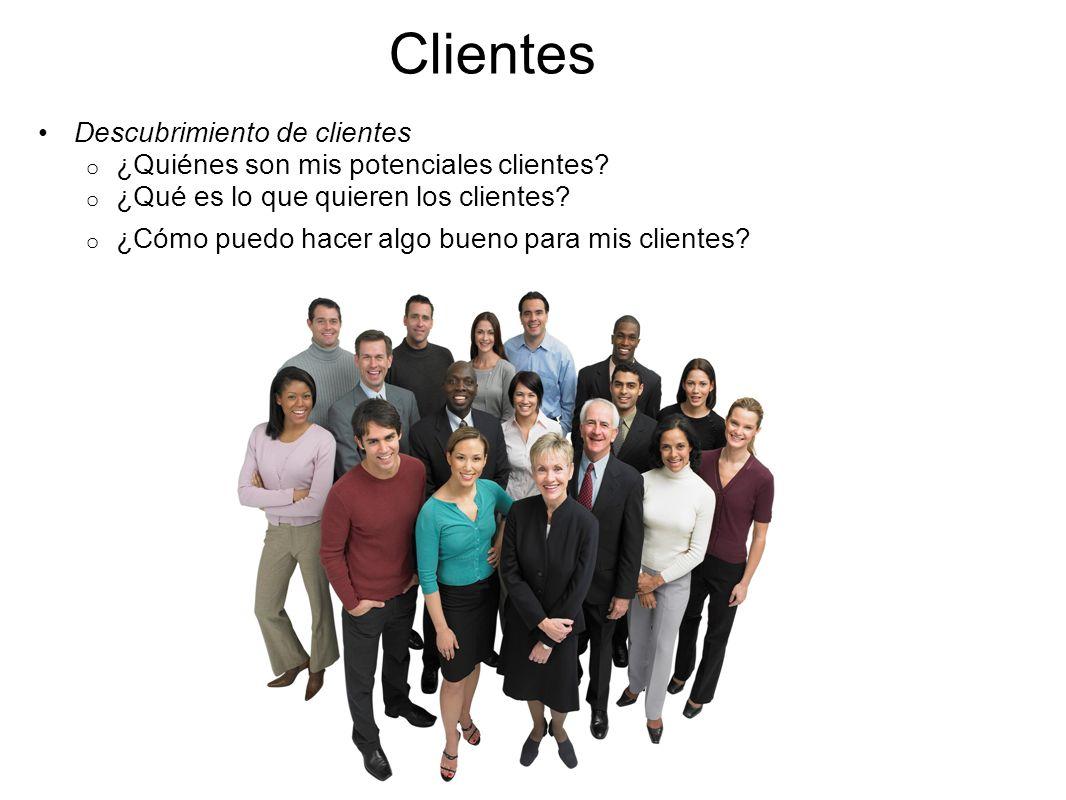 Clientes Descubrimiento de clientes o ¿Quiénes son mis potenciales clientes? o ¿Qué es lo que quieren los clientes? o ¿Cómo puedo hacer algo bueno par