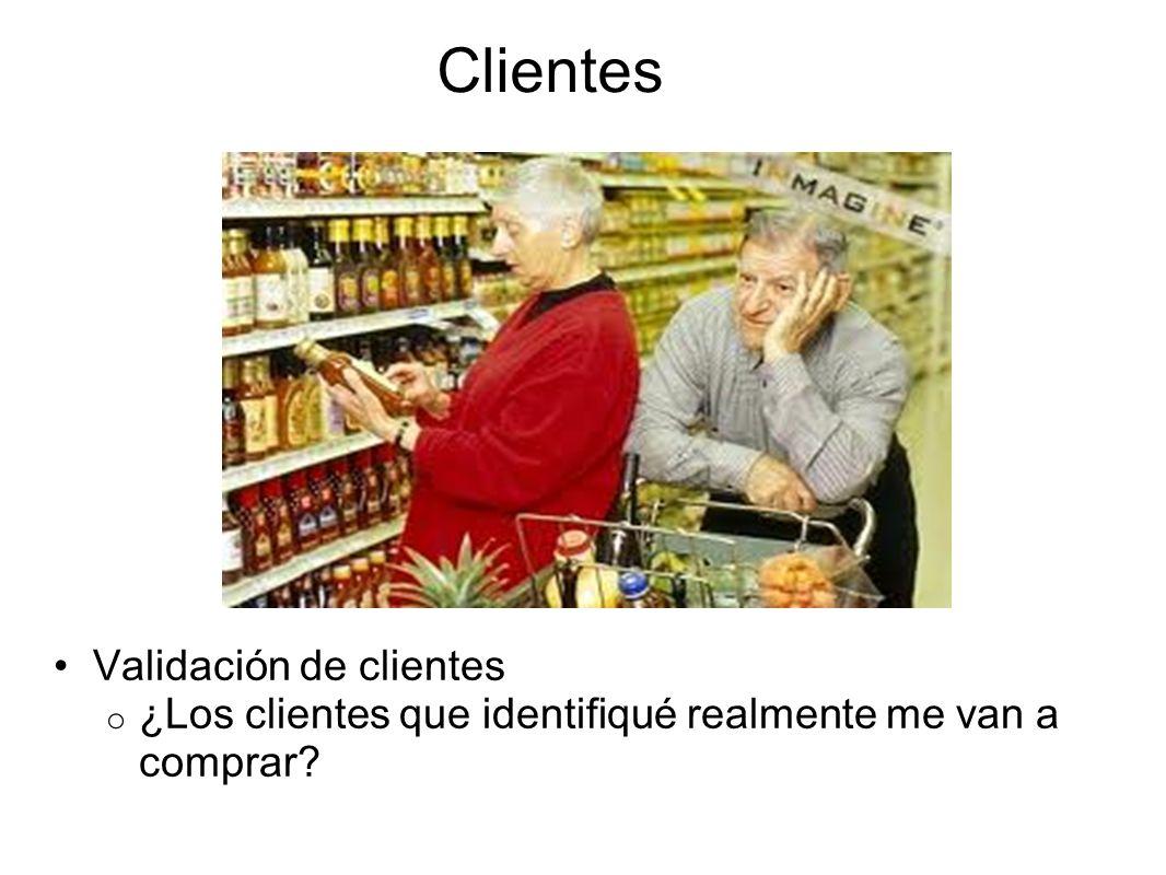 Clientes Validación de clientes o ¿Los clientes que identifiqué realmente me van a comprar?