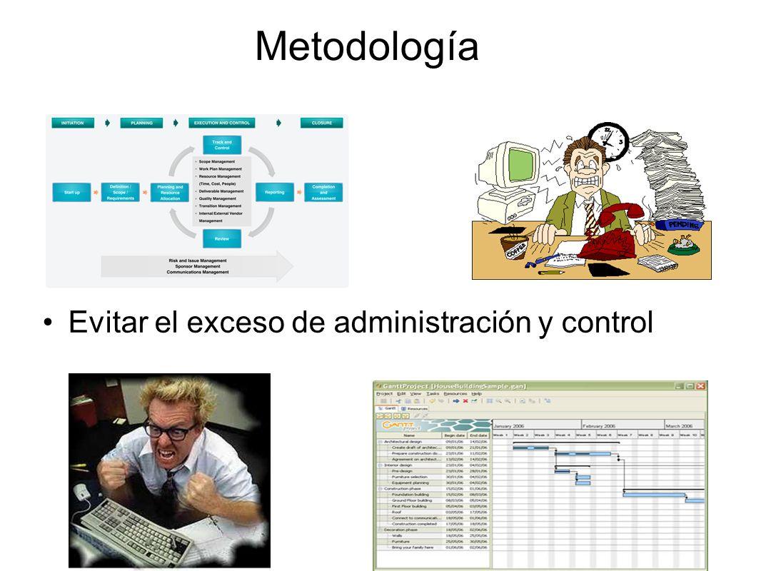 Metodología Evitar el exceso de administración y control