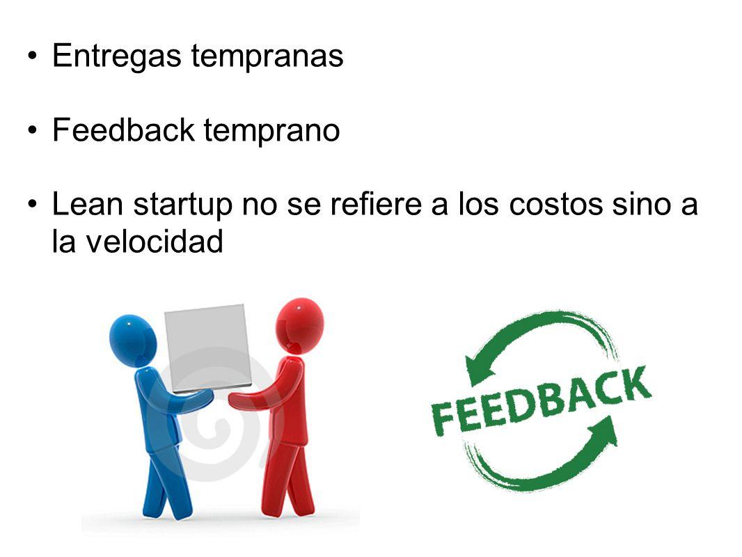 Entregas tempranas Feedback temprano Lean startup no se refiere a los costos sino a la velocidad