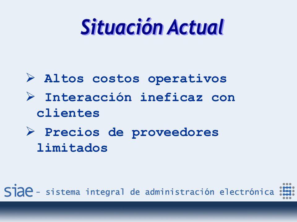 Altos costos operativos Interacción ineficaz con clientes Precios de proveedores limitados