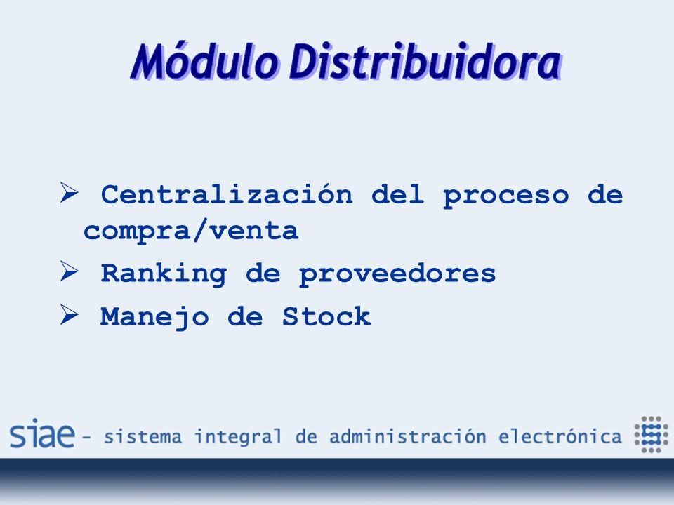 Centralización del proceso de compra/venta Ranking de proveedores Manejo de Stock