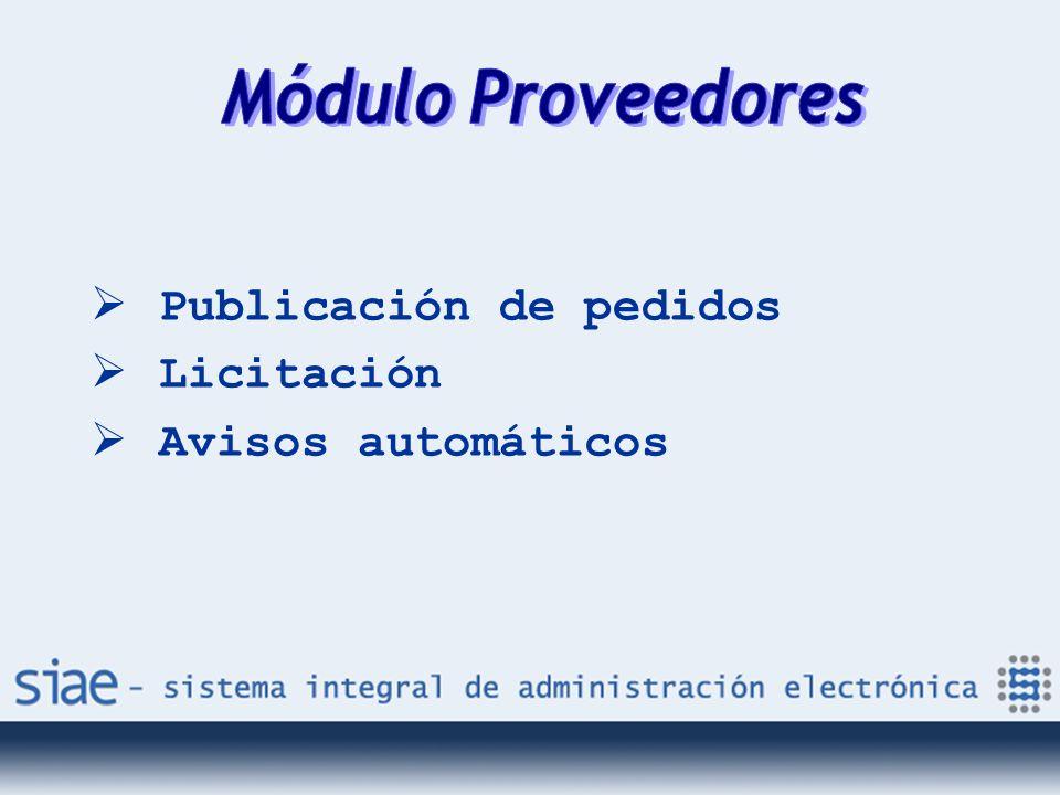 Publicación de pedidos Licitación Avisos automáticos