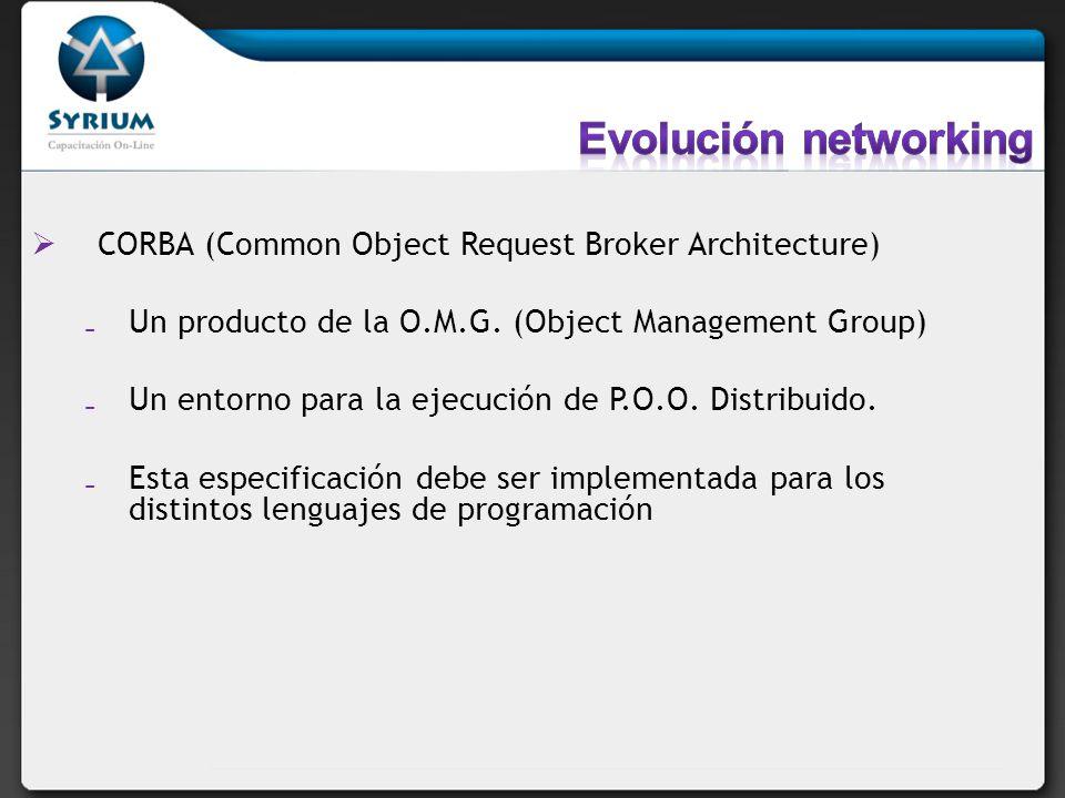 CORBA (Common Object Request Broker Architecture) Un producto de la O.M.G. (Object Management Group) Un entorno para la ejecución de P.O.O. Distribuid