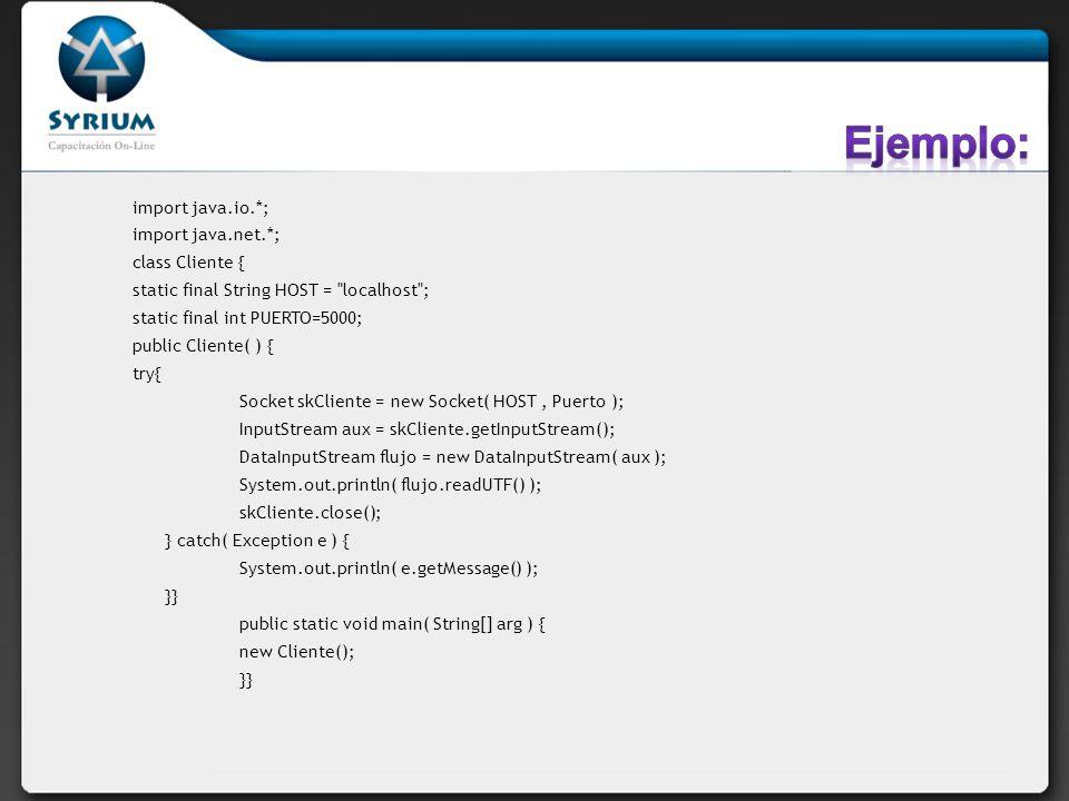 import java.io.*; import java.net.*; class Cliente { static final String HOST =