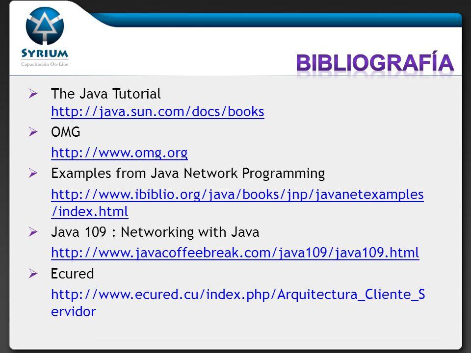 The Java Tutorial http://java.sun.com/docs/books http://java.sun.com/docs/books OMG http://www.omg.org Examples from Java Network Programming http://w