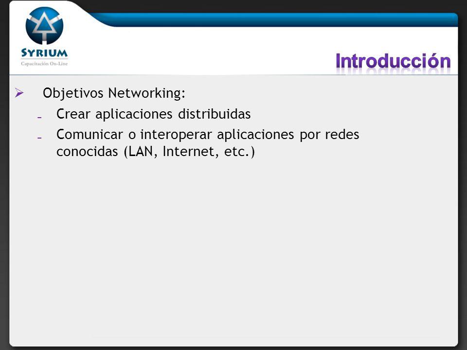 Objetivos Networking: Crear aplicaciones distribuidas Comunicar o interoperar aplicaciones por redes conocidas (LAN, Internet, etc.)