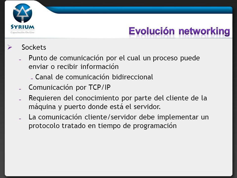 Sockets Punto de comunicación por el cual un proceso puede enviar o recibir información Canal de comunicación bidireccional Comunicación por TCP/IP Re