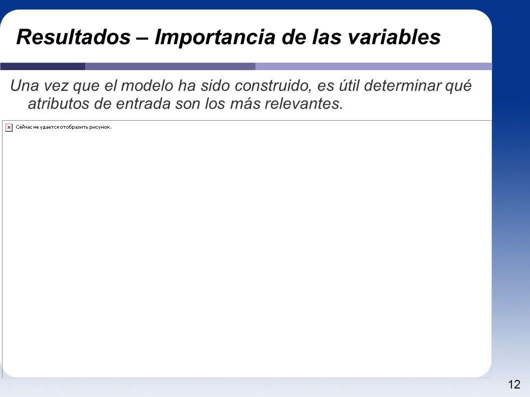 12 Resultados – Importancia de las variables Una vez que el modelo ha sido construido, es útil determinar qué atributos de entrada son los más relevantes.