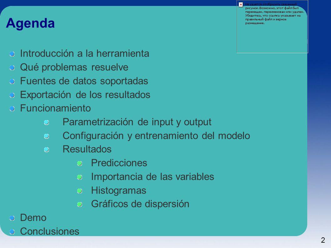 2 Agenda Introducción a la herramienta Qué problemas resuelve Fuentes de datos soportadas Exportación de los resultados Funcionamiento Parametrización