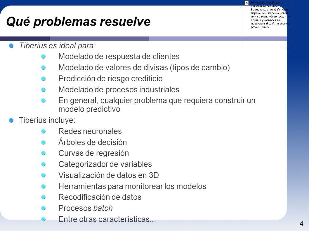 4 Qué problemas resuelve Tiberius es ideal para: Modelado de respuesta de clientes Modelado de valores de divisas (tipos de cambio) Predicción de ries