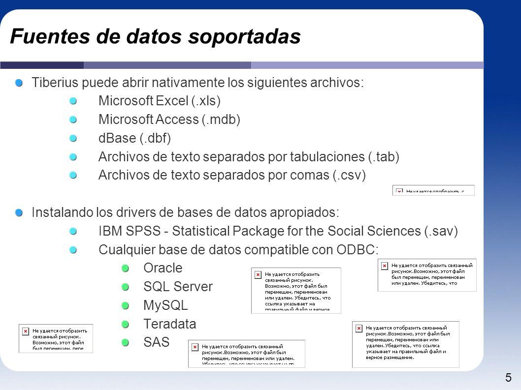 5 Fuentes de datos soportadas Tiberius puede abrir nativamente los siguientes archivos: Microsoft Excel (.xls) Microsoft Access (.mdb) dBase (.dbf) Archivos de texto separados por tabulaciones (.tab) Archivos de texto separados por comas (.csv) Instalando los drivers de bases de datos apropiados: IBM SPSS - Statistical Package for the Social Sciences (.sav) Cualquier base de datos compatible con ODBC: Oracle SQL Server MySQL Teradata SAS