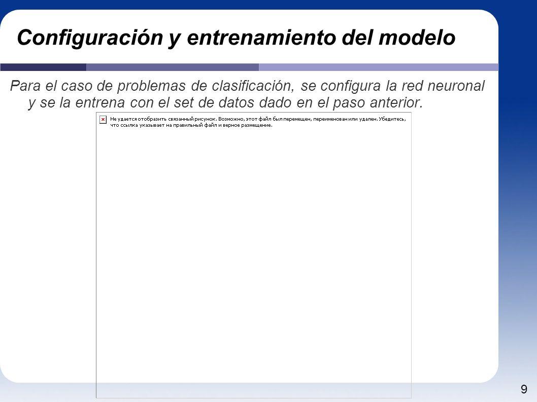 9 Configuración y entrenamiento del modelo Para el caso de problemas de clasificación, se configura la red neuronal y se la entrena con el set de dato